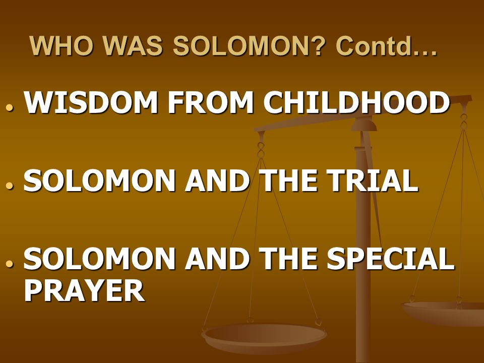 SOLOMON AND THE SPECIAL PRAYER
