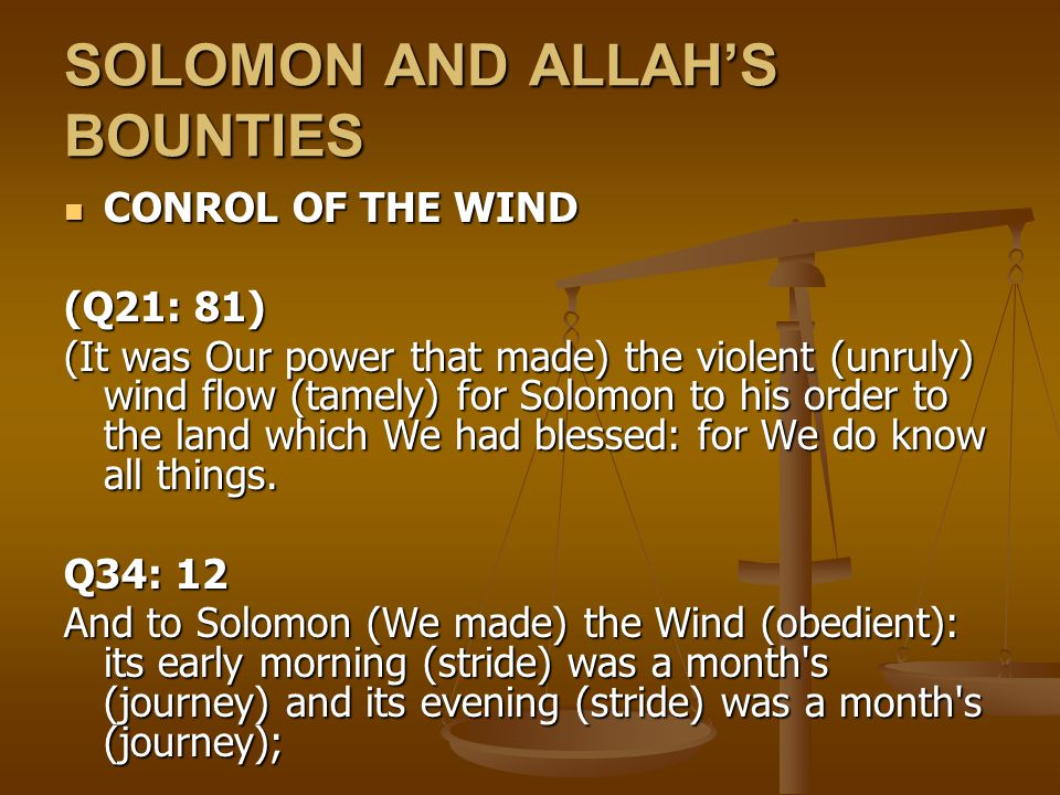 SOLOMON AND ALLAH'S BOUNTIES