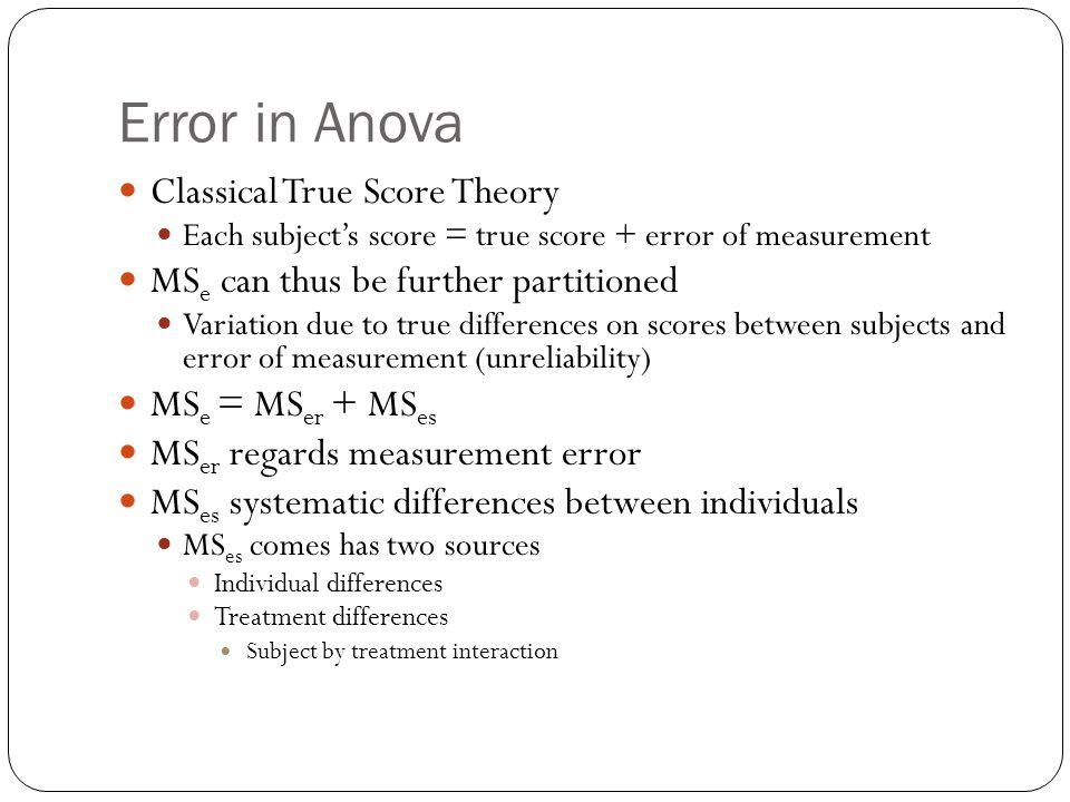 Error in Anova Classical True Score Theory