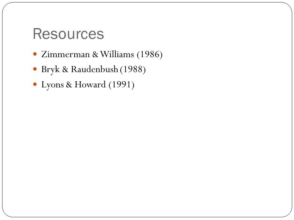 Resources Zimmerman & Williams (1986) Bryk & Raudenbush (1988)