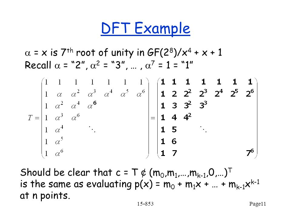 DFT Example a = x is 7th root of unity in GF(28)/x4 + x + 1