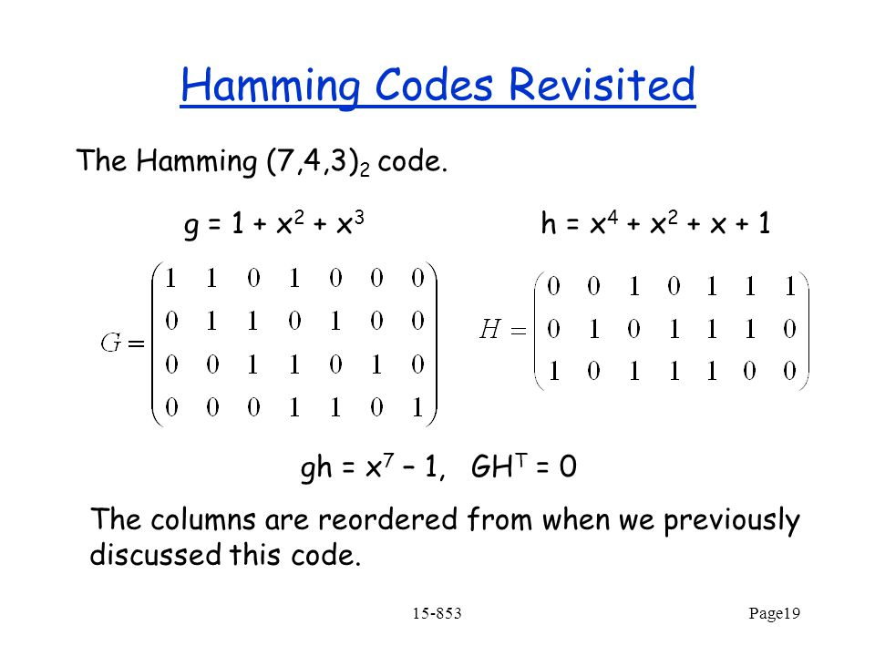 Hamming Codes Revisited