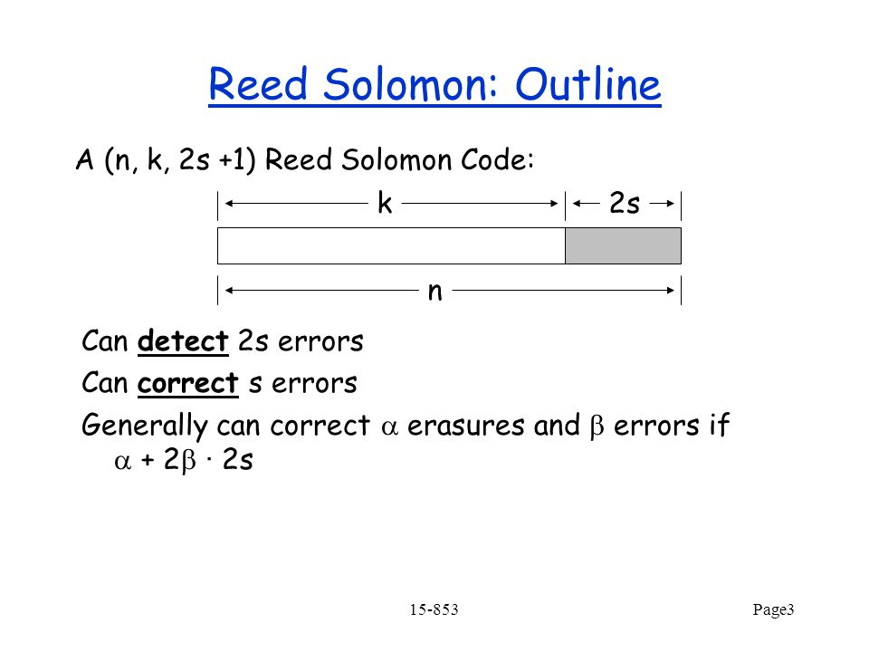 Reed Solomon: Outline A (n, k, 2s +1) Reed Solomon Code: k 2s n