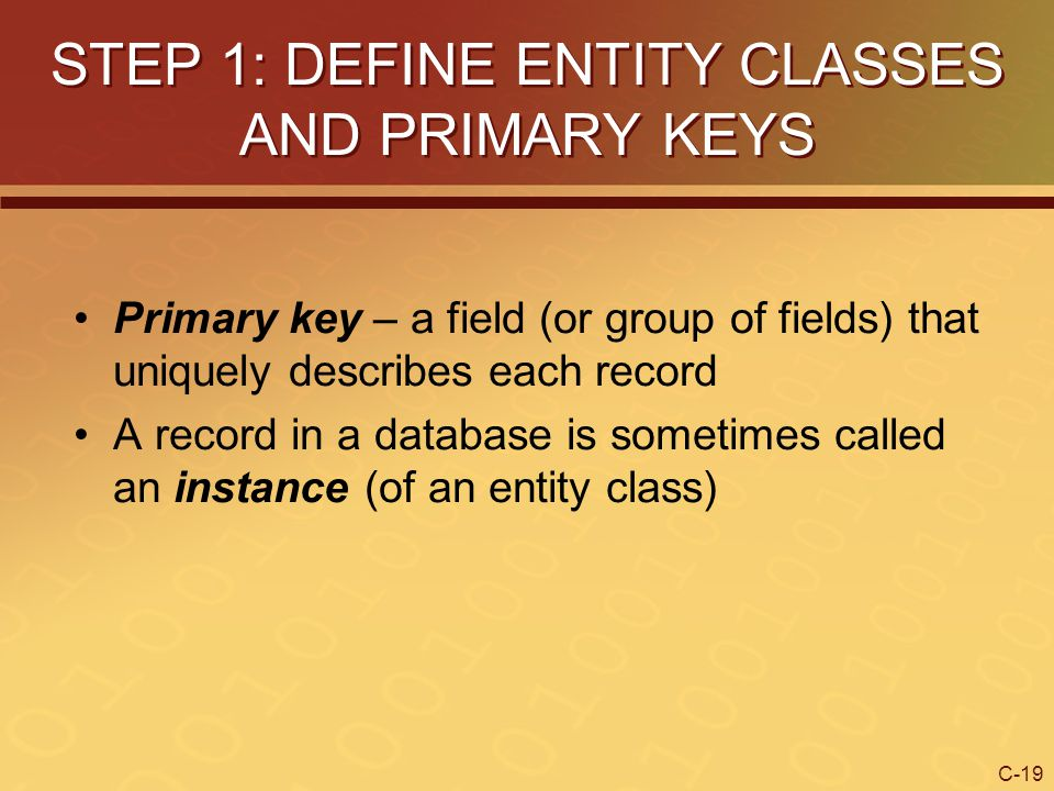 STEP 1: DEFINE ENTITY CLASSES AND PRIMARY KEYS