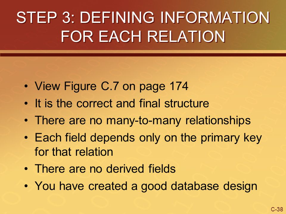 STEP 3: DEFINING INFORMATION FOR EACH RELATION