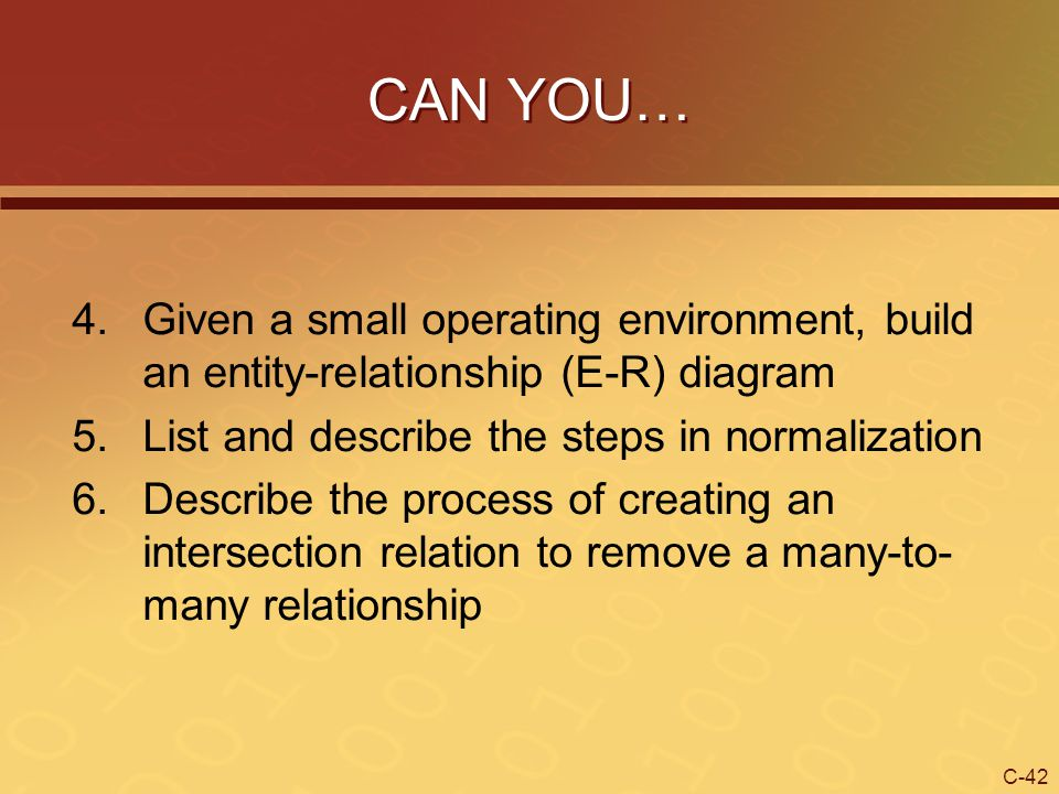 CAN YOU… Given a small operating environment, build an entity-relationship (E-R) diagram. List and describe the steps in normalization.