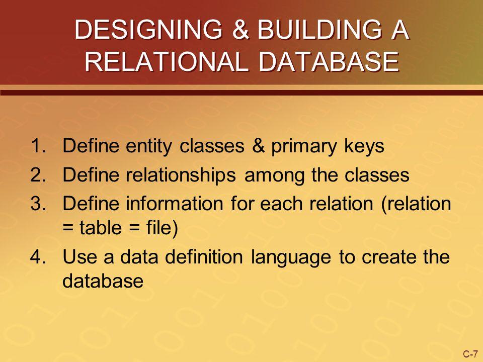 DESIGNING & BUILDING A RELATIONAL DATABASE