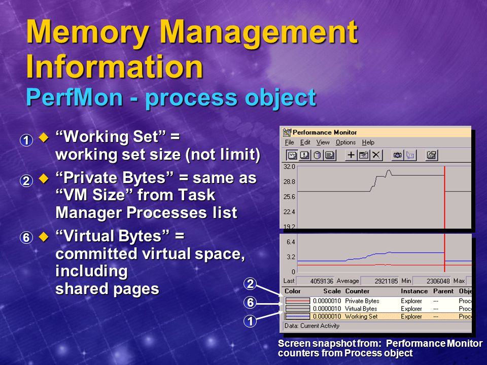 Memory Management Information PerfMon - process object