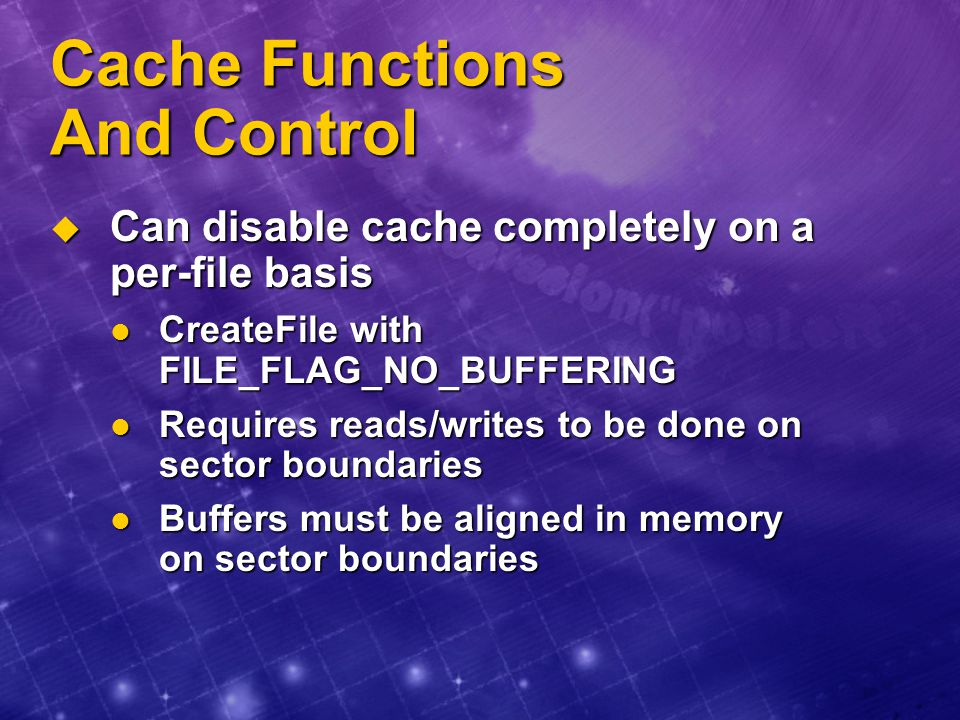 Cache Functions And Control