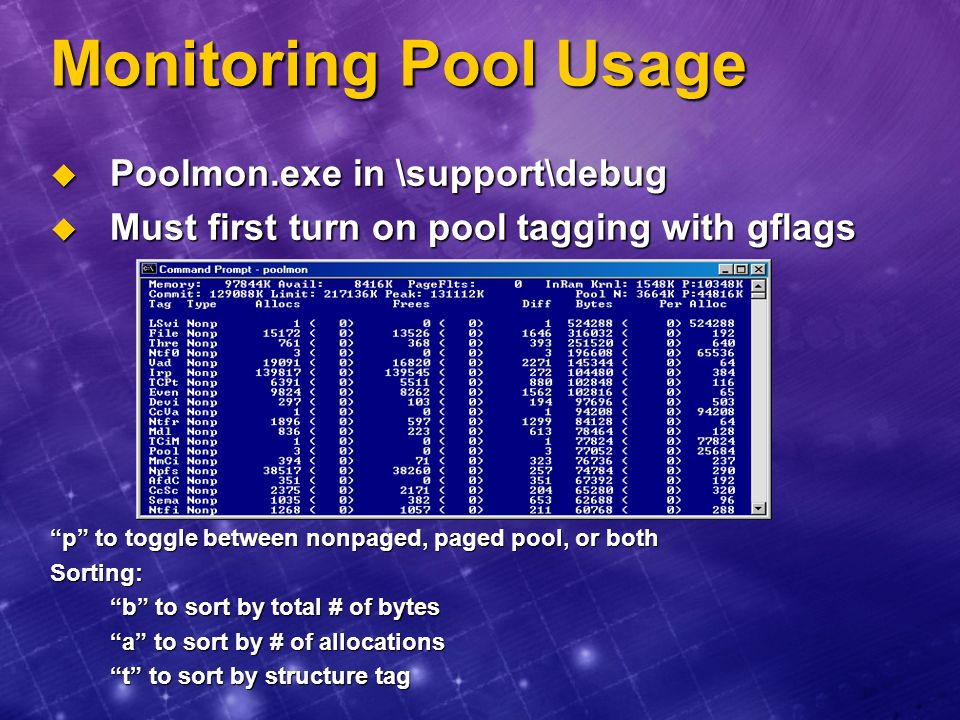 Monitoring Pool Usage Poolmon.exe in \support\debug