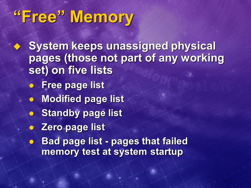 Free Memory System keeps unassigned physical pages (those not part of any working set) on five lists.