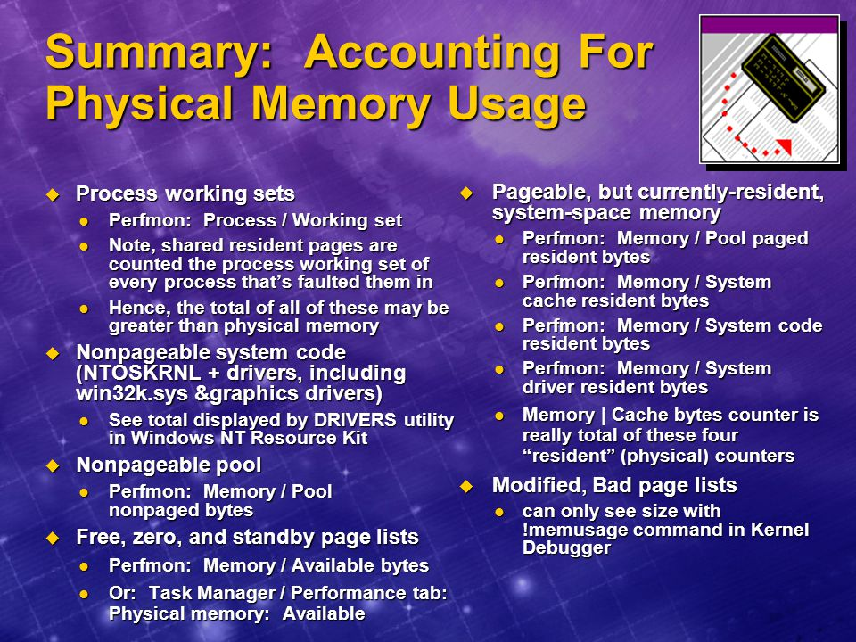 Summary: Accounting For Physical Memory Usage