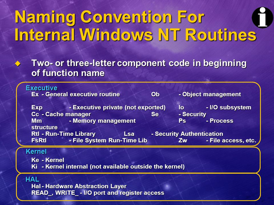Naming Convention For Internal Windows NT Routines