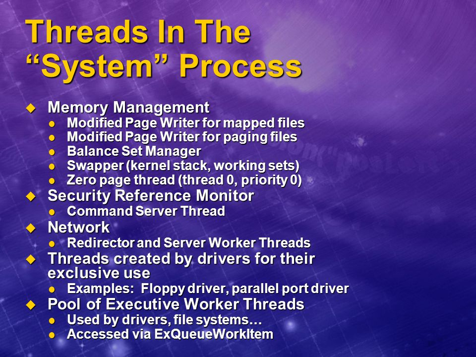 Threads In The System Process