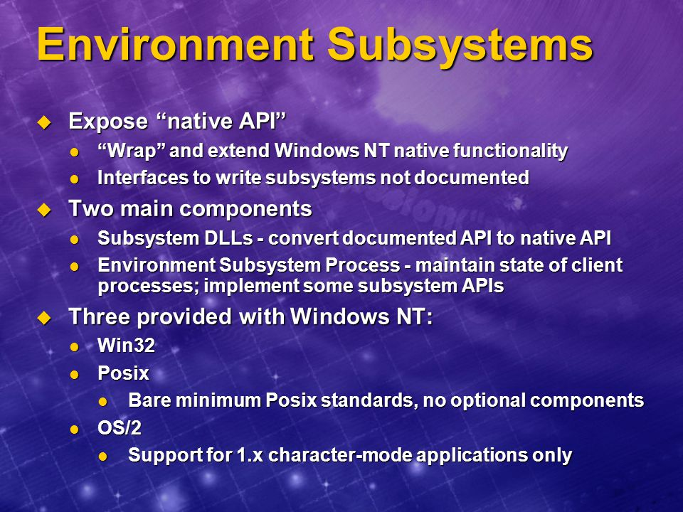 Environment Subsystems