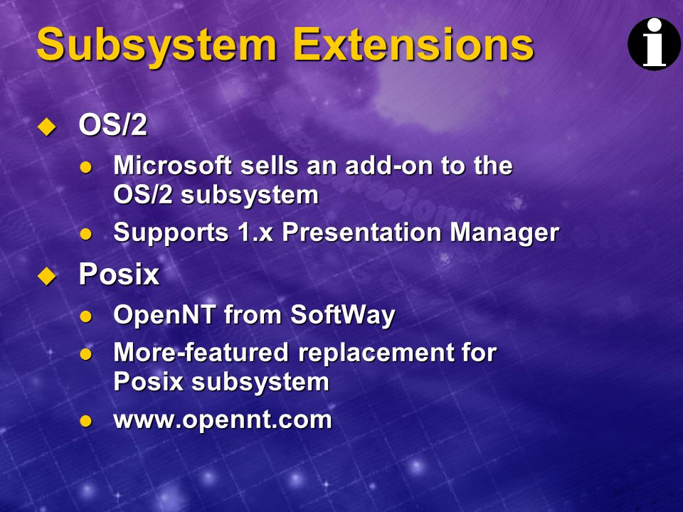 Subsystem Extensions OS/2 Posix