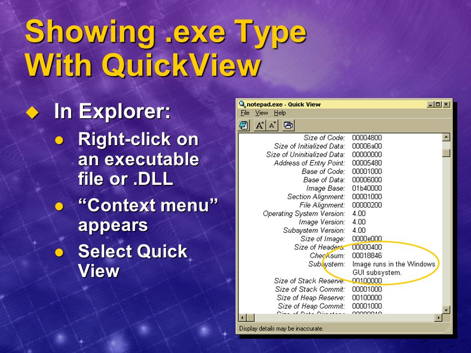 Showing .exe Type With QuickView