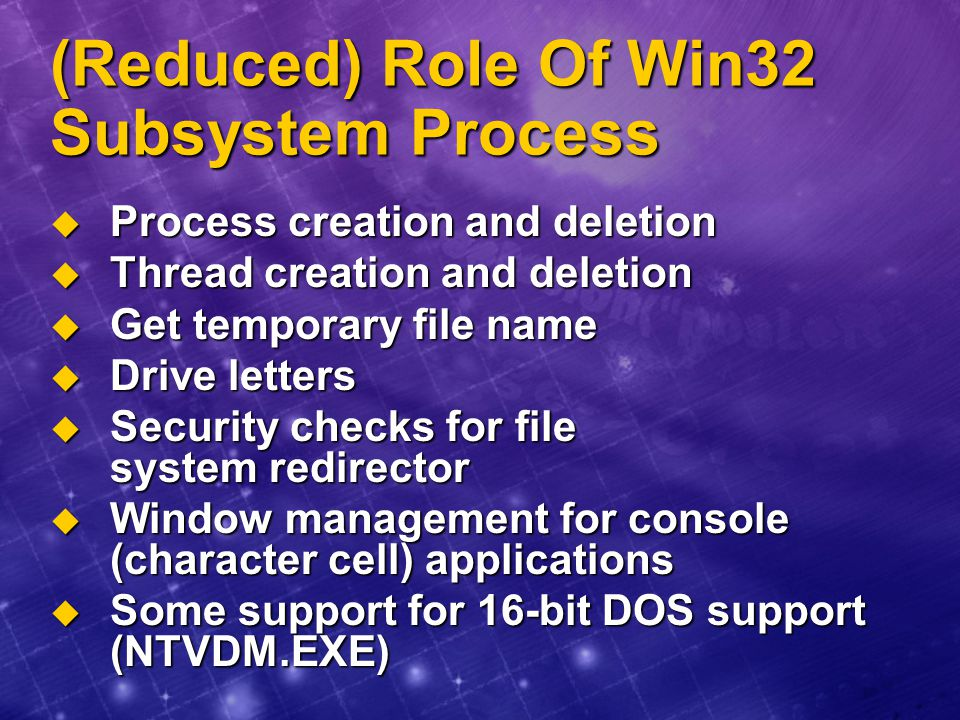 (Reduced) Role Of Win32 Subsystem Process