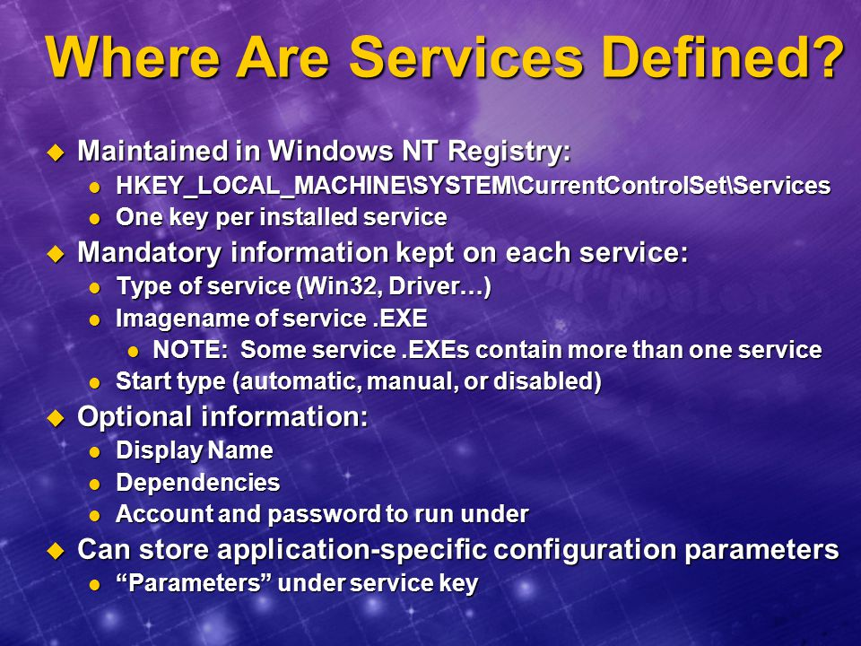 Where Are Services Defined