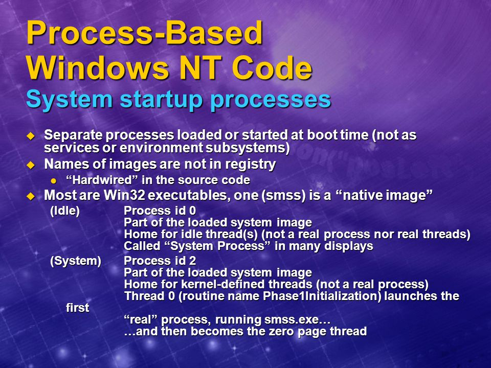 Process-Based Windows NT Code System startup processes