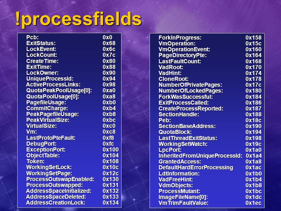 !processfields Pcb: 0x0 ForkInProgress: 0x158 ExitStatus: 0x68