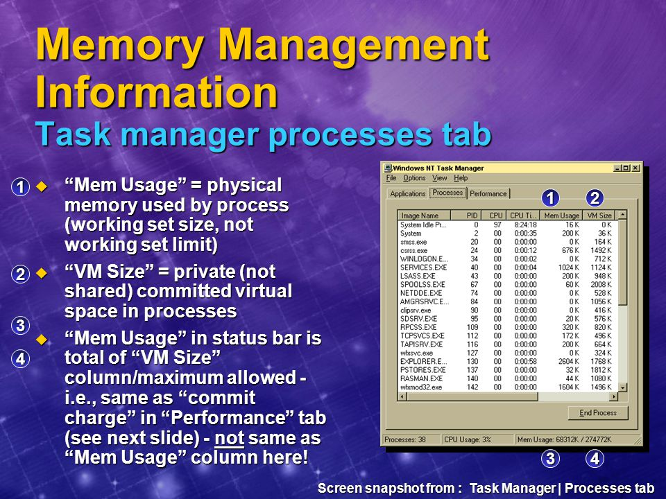 Memory Management Information Task manager processes tab