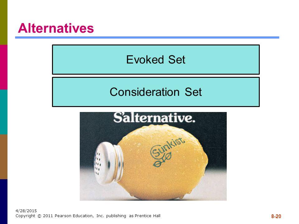Alternatives Evoked Set Consideration Set