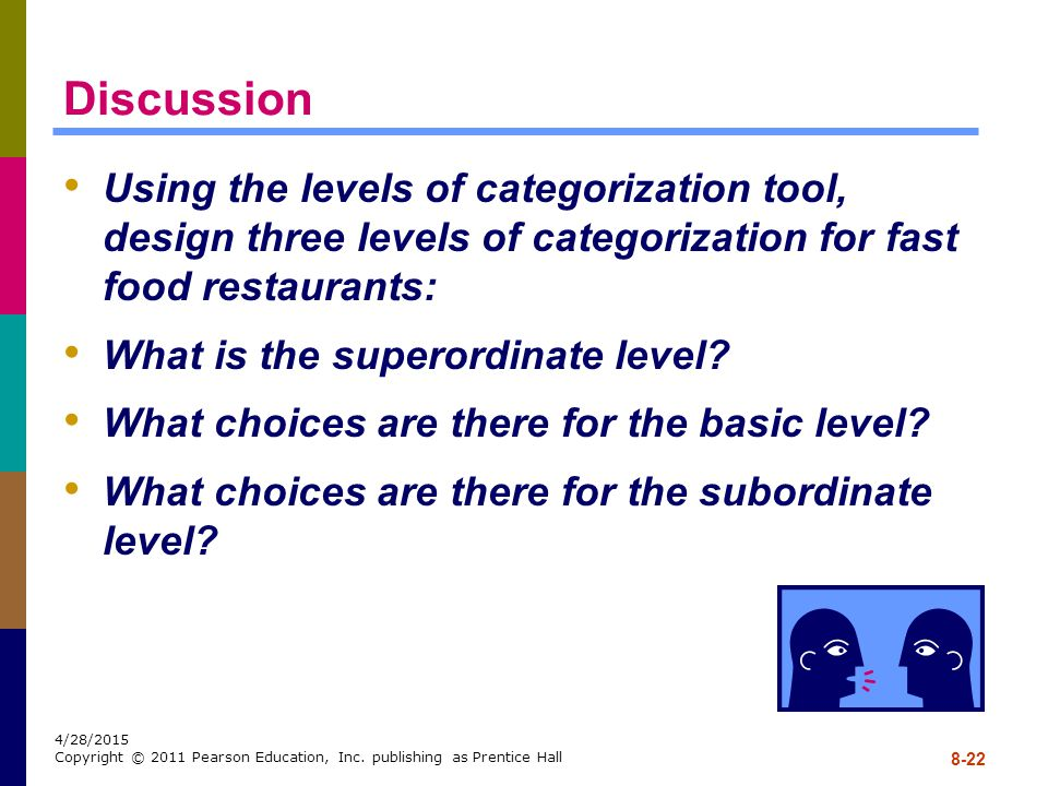 Discussion Using the levels of categorization tool, design three levels of categorization for fast food restaurants:
