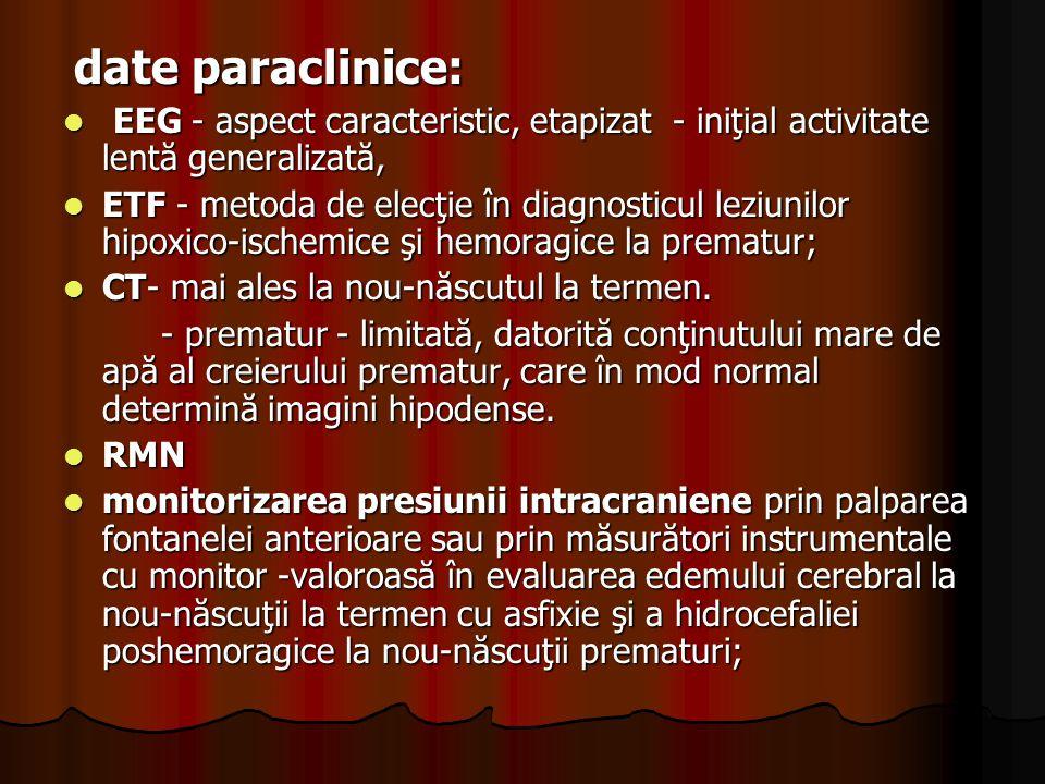 date paraclinice: EEG - aspect caracteristic, etapizat - iniţial activitate lentă generalizată,