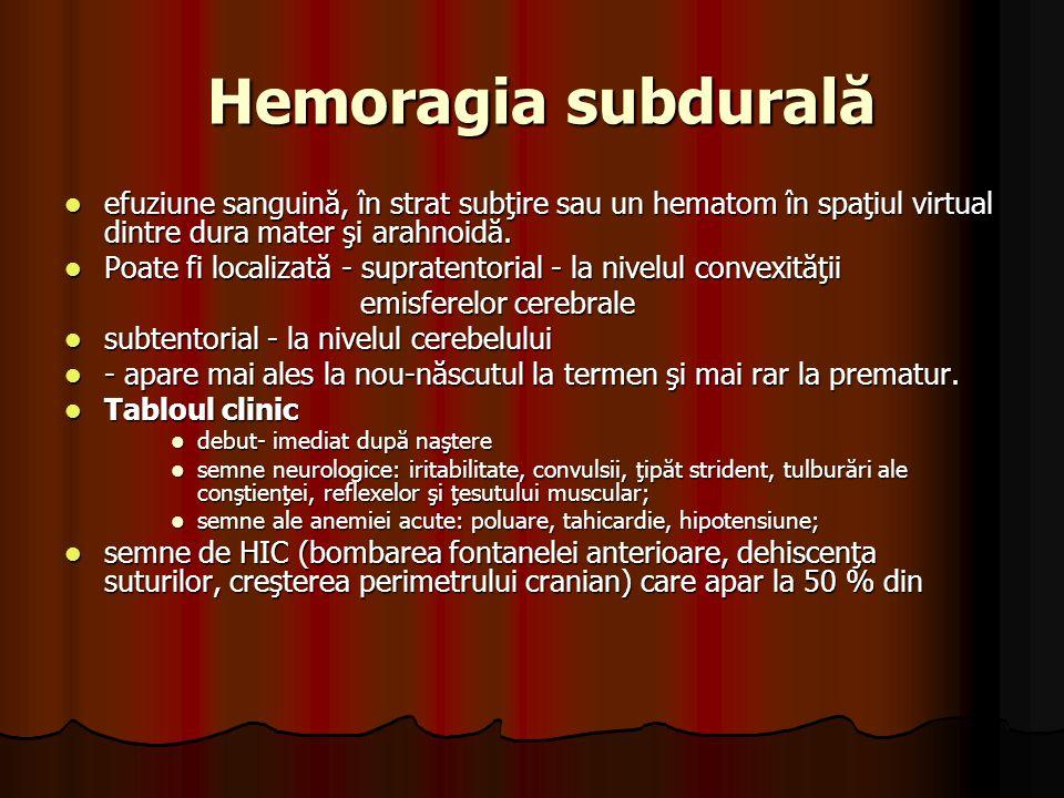 Hemoragia subdurală efuziune sanguină, în strat subţire sau un hematom în spaţiul virtual dintre dura mater şi arahnoidă.