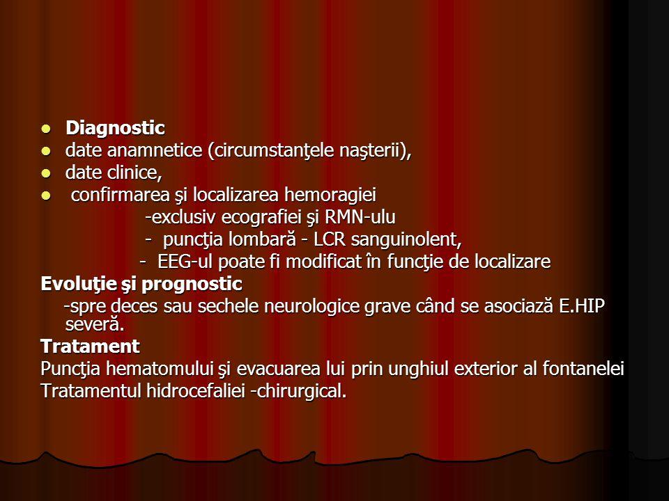 Diagnostic date anamnetice (circumstanţele naşterii), date clinice, confirmarea şi localizarea hemoragiei.