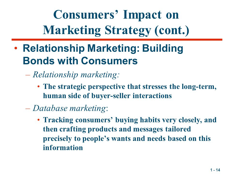 Consumers' Impact on Marketing Strategy (cont.)