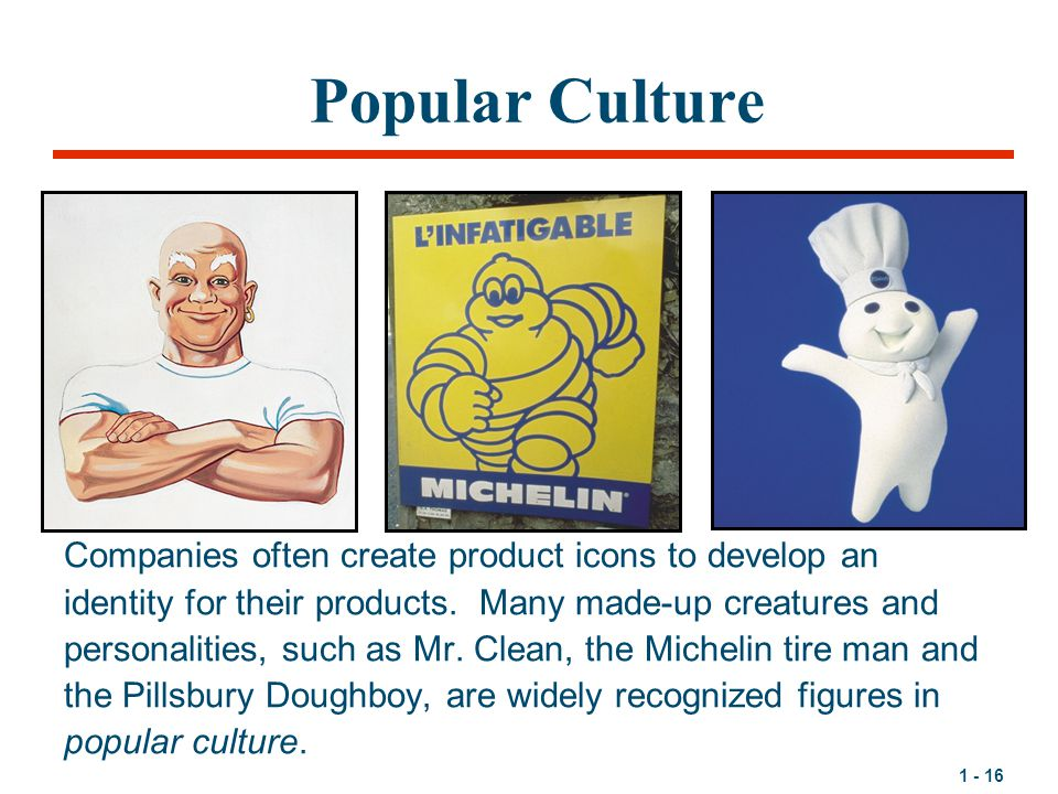 Popular Culture Companies often create product icons to develop an