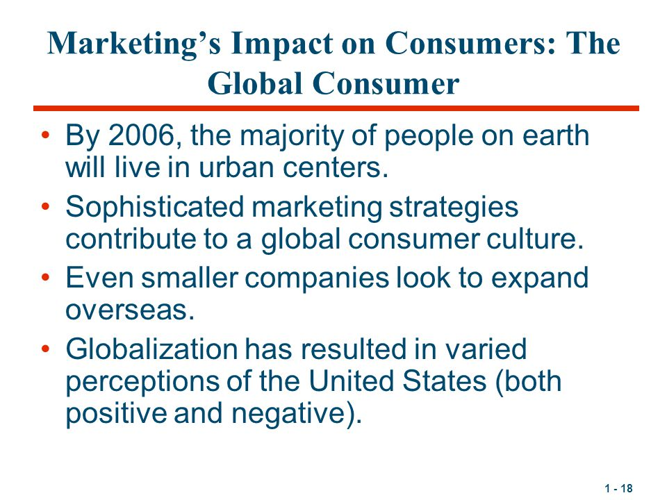 Marketing's Impact on Consumers: The Global Consumer
