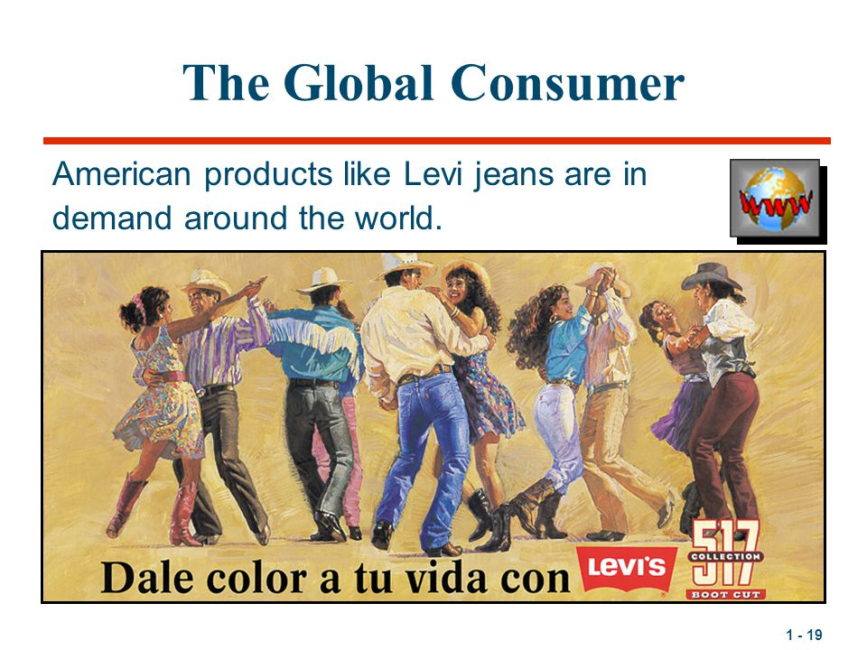 The Global Consumer American products like Levi jeans are in