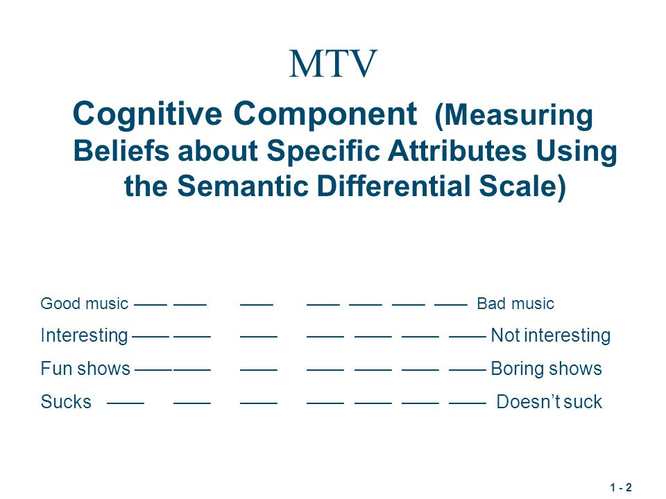MTV Cognitive Component (Measuring Beliefs about Specific Attributes Using the Semantic Differential Scale)