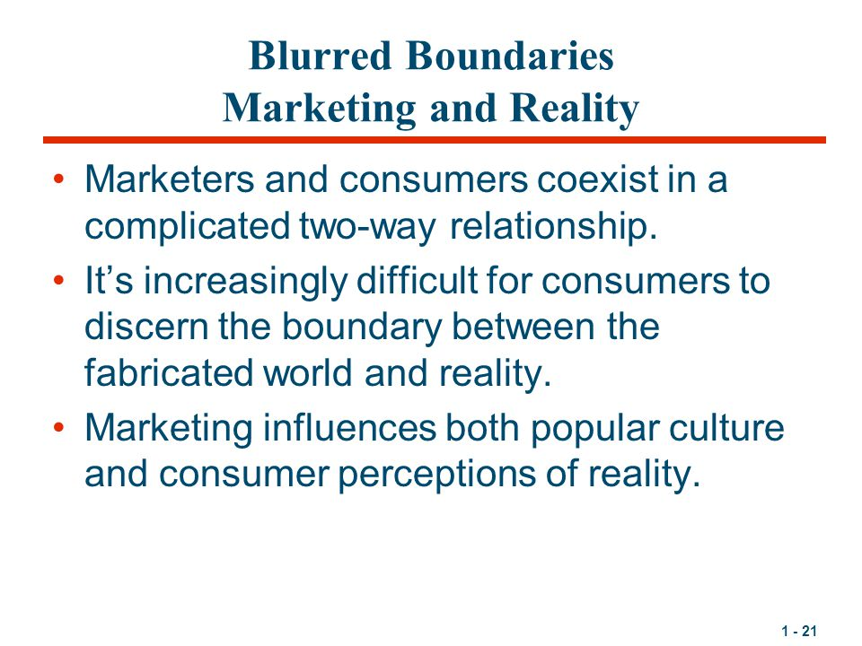 Blurred Boundaries Marketing and Reality