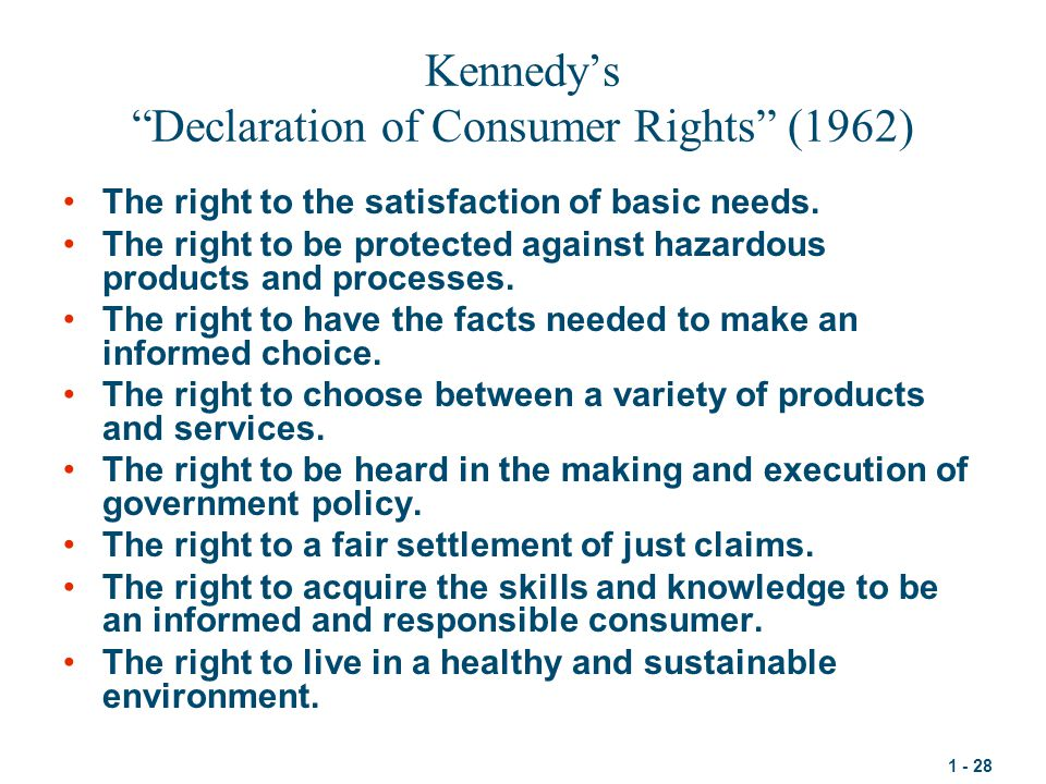 Kennedy's Declaration of Consumer Rights (1962)