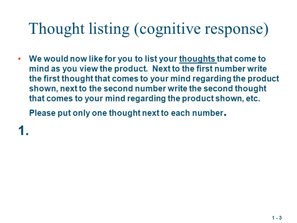 Thought listing (cognitive response)