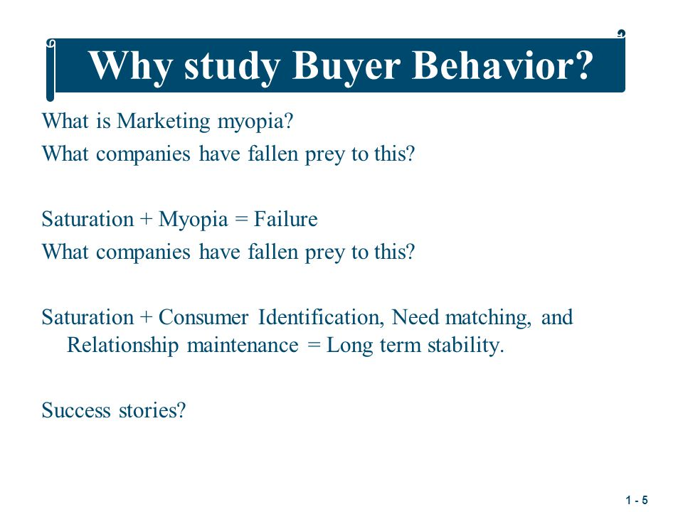 Why study Buyer Behavior