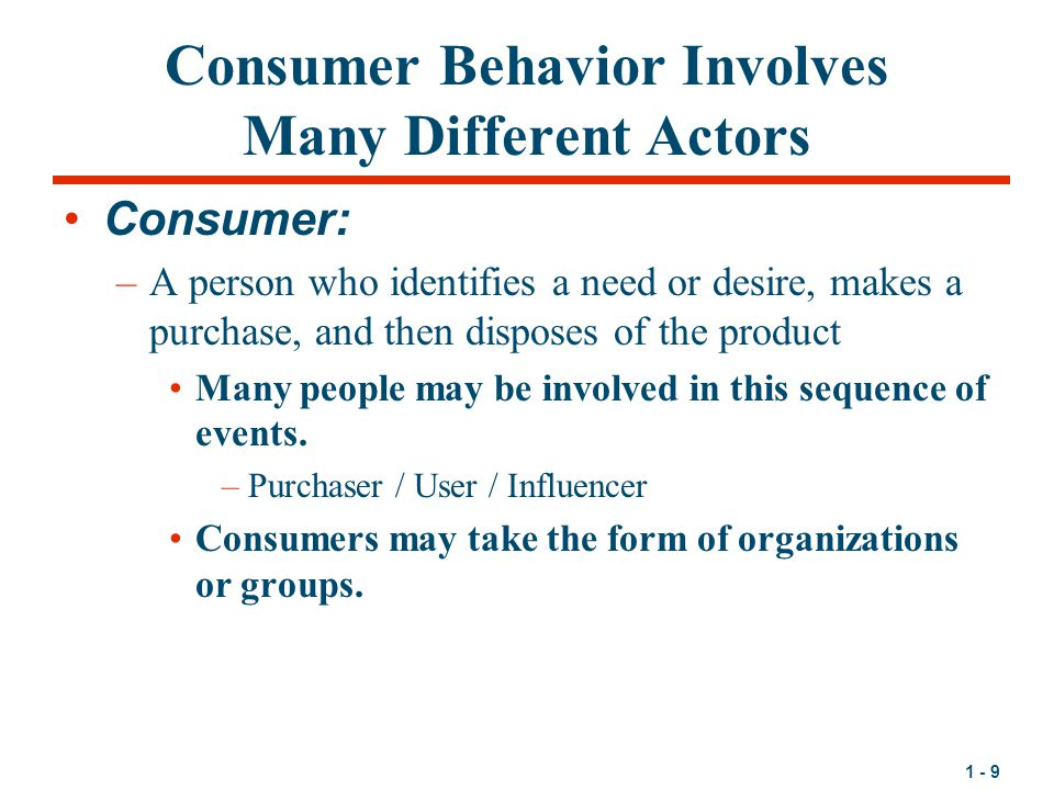 Consumer Behavior Involves Many Different Actors