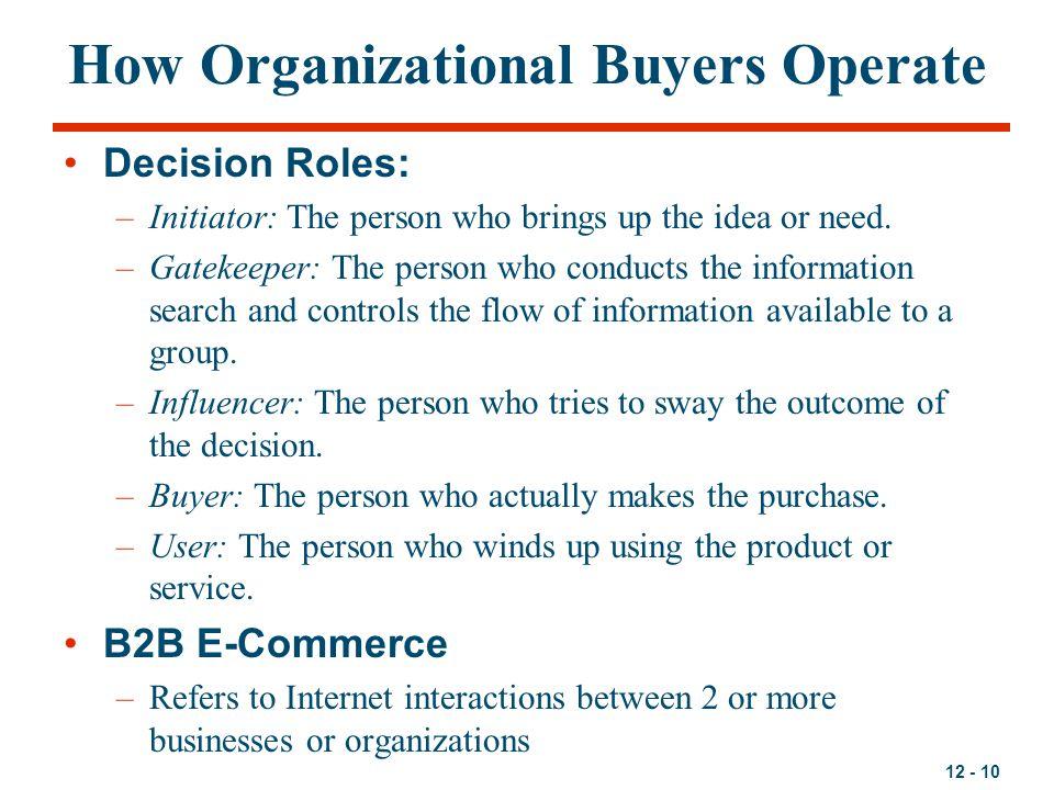 How Organizational Buyers Operate