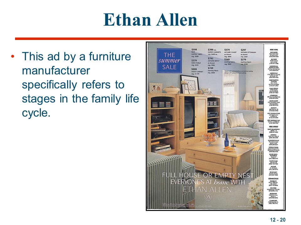 Ethan Allen This ad by a furniture manufacturer specifically refers to stages in the family life cycle.