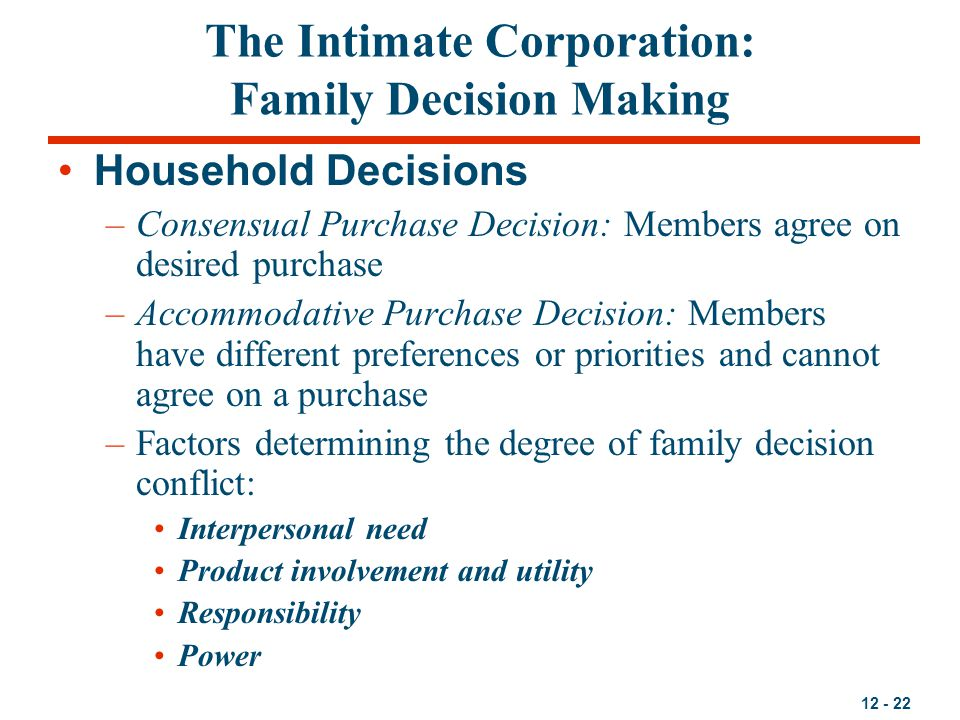 The Intimate Corporation: Family Decision Making