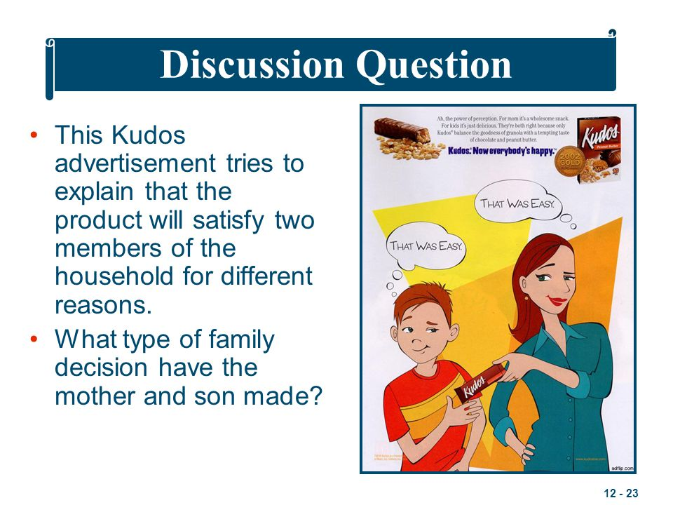 Discussion Question This Kudos advertisement tries to explain that the product will satisfy two members of the household for different reasons.
