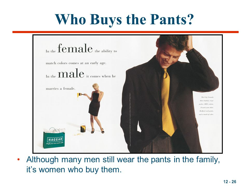 Who Buys the Pants Although many men still wear the pants in the family, it's women who buy them.