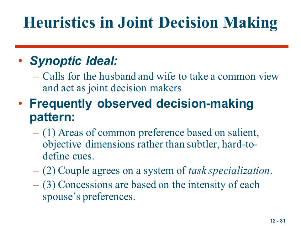 Heuristics in Joint Decision Making