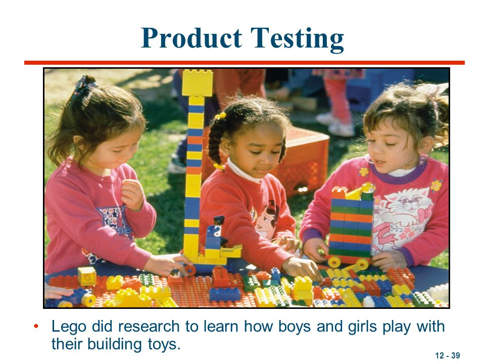 Product Testing Lego did research to learn how boys and girls play with their building toys.