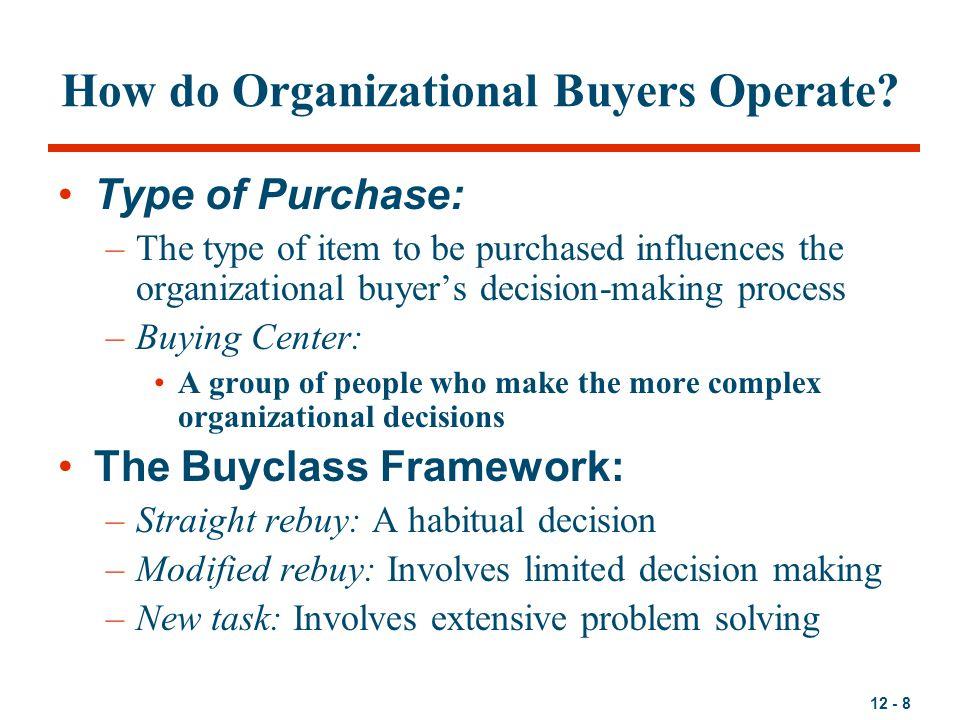 How do Organizational Buyers Operate