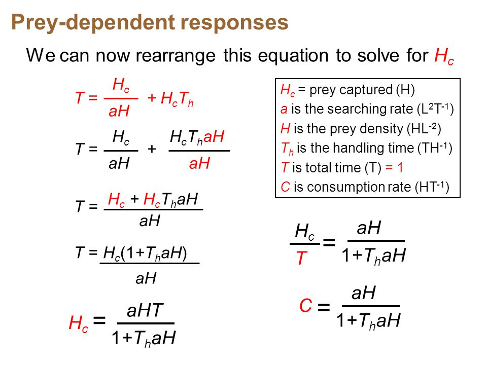 = = Prey-dependent responses